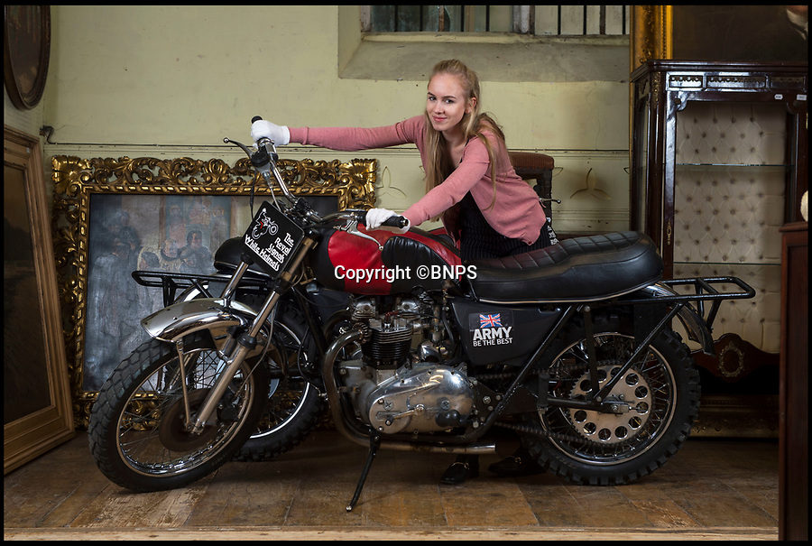 BNPS.co.uk (01202 558833)Pic: PhilYeomans/BNPS<br /> <br /> Modern classics - Auctioneer Olivia White with two of the White Helmet bikes.<br /> <br /> The iconic motorcycles used by the disbanded White Helmets are to be auctioned - but it is feared none of the riders will be able to afford to buy their beloved bikes.<br /> <br /> After the famous Army daredevil display team performed their last ever event in August, their 30 Triumph bikes were split up.<br /> <br /> The Army has given permission for six of them to be sold to the public at an auction in Sherborne, Dorset.<br /> <br /> Although the famous machines have been given pre-sale estimates of £6,000 each they are likely to fetch double if not treble that figure.
