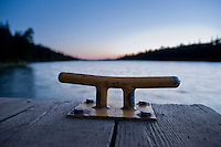Detail of a dock on Duncan Harbor at Isle Royale National Park in Michigan USA.
