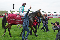 October 07, 2018, Longchamp, FRANCE - Enable with Frankie Dettori up after winning the Qatar Prix de l'Arc de Triomphe (Gr. I) at  ParisLongchamp Race Course  [Copyright (c) Sandra Scherning/Eclipse Sportswire)]