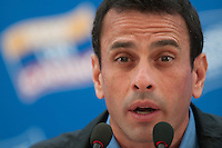 Venezuela: Caracas,26/06/12 .Venezuelan opposition candidate Henrique Capriles answers questions from reporters during a news conference in Caracas, to report the status of your candidacy, to a week into the election campaign for the upcoming presidential election on Oct. 7..Carlos Hernandez/Archivolatino