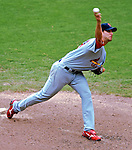 5 August 2007: St. Louis Cardinals starting pitcher Adam Wainwright on the mound against the Washington Nationals at RFK Stadium in Washington, DC. The Nationals defeated the Cardinals 6-3 to sweep their 3-game series...Mandatory Photo Credit: Ed Wolfstein Photo