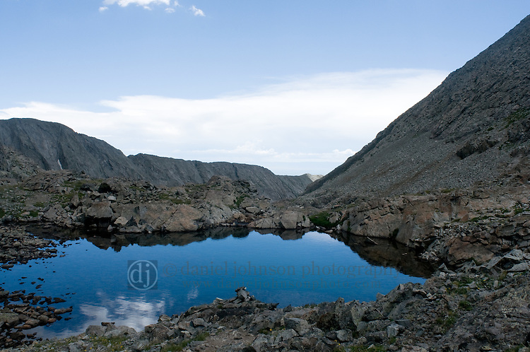 25 July 2008-- Colorado Trip Backpack Lake Como. One of the small mountain lakes formed from Holbrook Creek along the Lake Como trail to the Blanca Group of Colorado Fourteeners.  PHOTO/Daniel Johnson (copyright Daniel Johnson)