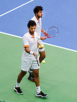 11-02-12, Netherlands,Tennis, Den Bosch, Daviscup Netherlands-Finland, Dubbels, Jean-Julien Rojer en Robin Haase (R)