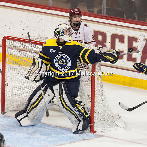 Samantha Ridgewell (Merrimack - 34), Ryan Little (BC - 20) - The number one seeded Boston College Eagles defeated the eight seeded Merrimack College Warriors 1-0 to sweep their Hockey East quarterfinal series on Friday, February 24, 2017, at Kelley Rink in Conte Forum in Chestnut Hill, Massachusetts.The number one seeded Boston College Eagles defeated the eight seeded Merrimack College Warriors 1-0 to sweep their Hockey East quarterfinal series on Friday, February 24, 2017, at Kelley Rink in Conte Forum in Chestnut Hill, Massachusetts.