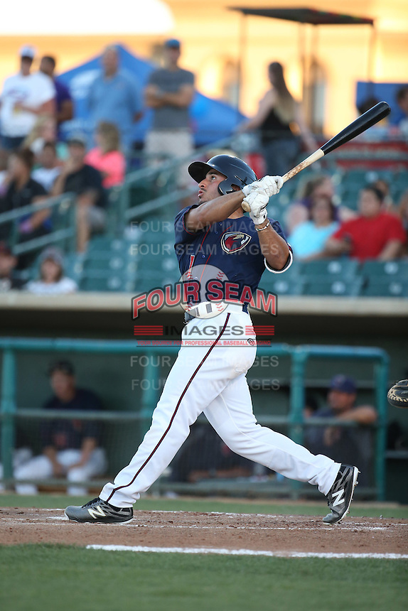 Ramon Laureano (1) of the Lancaster JetHawks bats against the San Jose Giants during the second game of a doubleheader at The Hanger on July 14, 2016 in Lancaster, California. Lancaster defeated San Jose, 3-0. (Larry Goren/Four Seam Images)