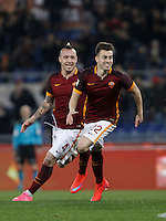 Calcio, Serie A: Roma vs Frosinone. Roma, stadio Olimpico, 30 gennaio 2016.<br /> Roma&rsquo;s Stephan El Shaarawy celebrates with teammate Radja Nainggolan, left, after scoring during the Italian Serie A football match between Roma and Frosinone at Rome's Olympic stadium, 30 January 2016.<br /> UPDATE IMAGES PRESS/Isabella Bonotto