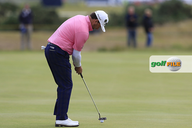 Graeme McDOWELL (NIR) takes his putt on the 15th green during Monday's Final Round of the 144th Open Championship, St Andrews Old Course, St Andrews, Fife, Scotland. 20/07/2015.<br /> Picture Eoin Clarke, www.golffile.ie