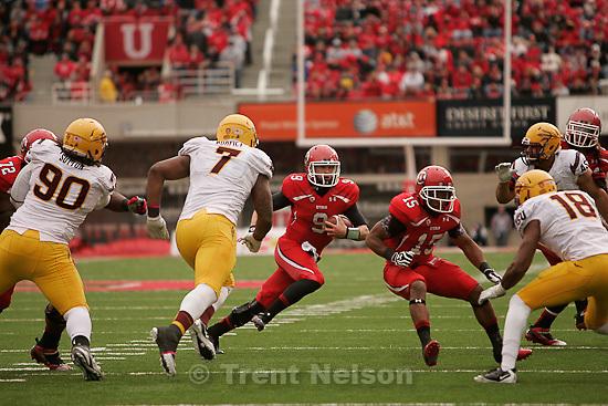 Trent Nelson  |  The Salt Lake Tribune.Utah quarterback Jon Hays scrambles in the second half, Utah vs. Arizona State, college football at Rice-Eccles Stadium in Salt Lake City, Utah, Saturday, October 8, 2011.