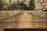 Israel, Jerusalem, the lintel of the entrance to Jehoshaphat Cave in Kidron valley, a burial complex from the Second Temple period