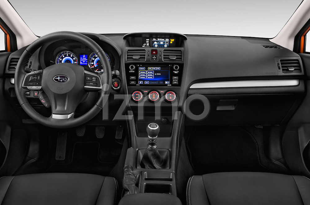 Stock photo of straight dashboard view of 2015 Subaru XV-Crosstrek Premium 5 Door SUV Dashboard