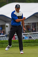 Brooks Koepka (USA) celebrates sinking his final putt to win the 2019 PGA Championship, Bethpage Black Golf Course, New York, New York,  USA. 5/19/2019.<br /> Picture: Golffile | Ken Murray<br /> <br /> <br /> All photo usage must carry mandatory copyright credit (© Golffile | Ken Murray)