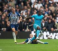 Tottenham Hotspur's Moussa Sissoko (right) is tackled by Brighton & Hove Albion's Aaron Mooy (left) <br /> <br /> Photographer David Horton/CameraSport<br /> <br /> The Premier League - Brighton and Hove Albion v Tottenham Hotspur - Saturday 5th October 2019 - The Amex Stadium - Brighton<br /> <br /> World Copyright © 2019 CameraSport. All rights reserved. 43 Linden Ave. Countesthorpe. Leicester. England. LE8 5PG - Tel: +44 (0) 116 277 4147 - admin@camerasport.com - www.camerasport.com