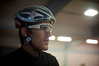 2013 Giro d'Italia.stage 12.Longarone - Treviso: 134km..Francis De Greef (BEL) found some indoor shelter before the start