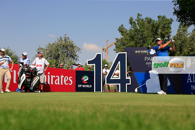 Graeme Storm (ENG) on the 14th during the 2nd round of the season ending DP World Tour Championship, Earth Course, Jumeirah Golf Estates, Dubai, UAE.  20/11/2015.<br /> Picture: Golffile | Fran Caffrey<br /> <br /> <br /> All photo usage must carry mandatory copyright credit (&copy; Golffile | Fran Caffrey)