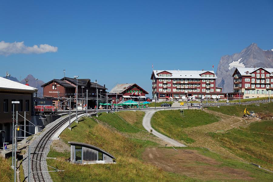 Rail station and train tracks at Kleine Scheidegg, Bernese Oberland, Switzerland