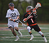 Dominic Scorcia #1 of Carey, right, gets pressured by Stephen Farrell #28 of Manhasset during a Nassau County varsity boys lacrosse game at Manhasset High School on Wednesday, May 4, 2016. Manhasset won by a score of 14-6.