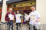Tom Foley (right) who is doing the Home to Rome Cycle on Wednesday the 18th of May in Tralee, selling Home to Rome mini t-shirts at Seanchara the Square Tralee and Ballyseedy garden centre with the help of  Dan Wheeler and Clover Wharton (left)