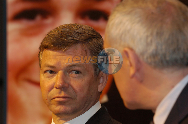 Dublin Ireland, (L) Prime Minister of Norway Mr. Kjell Magne Bondevik  speaking with Irish Prime Minister and President of the EU Bertie Ahern at a press conference after there meeting in Government Buildings, Dublin Ireland 6th February 2004.Photo AFP/NEWSFILE/FRAN CAFFREY..(Photo credit should read FRAN CAFFREY/NEWSFILE/AFP)...This Picture has been sent you under the condtions enclosed by:.Newsfile Ltd..the Studio,.Millmount Abbey,.Drogheda,.Co Meath..Ireland..Tel: +353(0)41-9871240.Fax: +353(0)41-9871260.GSM: +353(0)86-2500958.email: pictures@newsfile.ie.www.newsfile.ie.FTP: 193.120.102.198..This picture is from Fran Caffrey@newsfile.ie