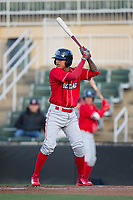 Arquimedes Gamboa (7) of the Lakewood BlueClaws at bat against the Kannapolis Intimidators at Kannapolis Intimidators Stadium on April 6, 2017 in Kannapolis, North Carolina.  The BlueClaws defeated the Intimidators 7-5.  (Brian Westerholt/Four Seam Images)