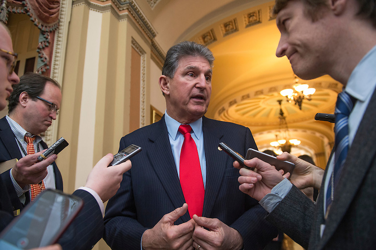 UNITED STATES - JANUARY 31: Sen. Joe Manchin, D-W.Va., talks with reporters before the Senate Policy luncheons in the Capitol, January 31, 2017. (Photo By Tom Williams/CQ Roll Call)
