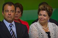 RIO DE JANEIRO, RJ, 13 DE FEVEREIRO DE 2012 - Cerimônia de Posse da nova Presidente da Petrobrás  - A Presidente Dilma Roussef ao lado do Governador do Rio de Janeiro, Sérgio Cabral, na cerimônia de tomada de posse da nova Presidente da Petrobras, Graça Foster, na sede da Petrobras.<br /> FOTO GLAICON EMRICH - NEWS FREE.