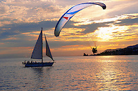 Sunset over Lac Leman (lake Geneva) with paragliders - Montraux Switzerland