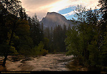 Merced River and Half Dome at First Light from Sentinel Bridge, Yosemite National Park