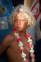 John John Florence (HAW) The Quiksilver in memory of Eddie Aikau Big Wave Invitational Opening Ceremony held at Waimea Bay on the North Shore of Oahu, Hawaii today December 2, 2004. Photo: Joli