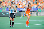 The Hague, Netherlands, June 12: Rosario Luchetti #4 of Argentina and Naomi van As #18 of The Netherlands look on during the field hockey semi-final match (Women) between The Netherlands and Argentina on June 12, 2014 during the World Cup 2014 at Kyocera Stadium in The Hague, Netherlands. Final score 4-0 (3-0)  (Photo by Dirk Markgraf / www.265-images.com) *** Local caption ***