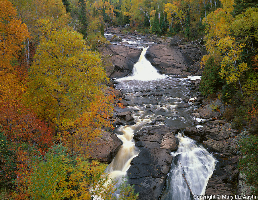 Superior National Forest, MN<br /> Beaver River Falls in autumn near Silver Bay