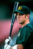 Mark Bellhorn of the Oakland Athletics during a game at Anaheim Stadium in Anaheim, California during the 1997 season.(Larry Goren/Four Seam Images)