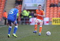 Blackpool's Oliver Turton under pressure from Peterborough United's Joe Ward<br /> <br /> Photographer Kevin Barnes/CameraSport<br /> <br /> The EFL Sky Bet League One - Blackpool v Peterborough United - Saturday 13th April 2019 - Bloomfield Road - Blackpool<br /> <br /> World Copyright &copy; 2019 CameraSport. All rights reserved. 43 Linden Ave. Countesthorpe. Leicester. England. LE8 5PG - Tel: +44 (0) 116 277 4147 - admin@camerasport.com - www.camerasport.com