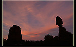 Sunrise at Balanced Rock, Arches National Park, Utah.  <br />