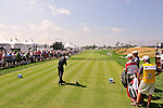 30 August 2009: Richard S. Johnson of Sweden tees off on the 1st hole in the final round of The Barclays PGA Playoffs at Liberty National Golf Course in Jersey City, New Jersey.