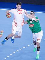 Algeria's Saci Boultif (r) and Croatia's Damir Bicanic during 23rd Men's Handball World Championship preliminary round match.January 14,2013. (ALTERPHOTOS/Acero) 7NortePhoto
