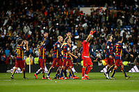 Barcelona´s players celebrate their victory after 2015-16 La Liga match between Real Madrid and Barcelona at Santiago Bernabeu stadium in Madrid, Spain. November 21, 2015. (ALTERPHOTOS/Victor Blanco) /NortePhoto