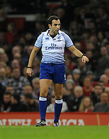 Referee Mathieu Raynal during the game<br /> <br /> Photographer Ian Cook/CameraSport<br /> <br /> Under Armour Series Autumn Internationals - Wales v Scotland - Saturday 3rd November 2018 - Principality Stadium - Cardiff<br /> <br /> World Copyright &copy; 2018 CameraSport. All rights reserved. 43 Linden Ave. Countesthorpe. Leicester. England. LE8 5PG - Tel: +44 (0) 116 277 4147 - admin@camerasport.com - www.camerasport.com