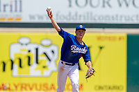 Rancho Cucamonga Quakes Gavin Lux (14) makes a throw to first base against the Visalia Rawhide at LoanMart Field on May 14, 2018 in Rancho Cucamonga, California. The Rawhide defeated the Quakes 5-0.  (Donn Parris/Four Seam Images)