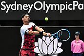 11th January 2018, Sydney Olympic Park Tennis Centre, Sydney, Australia; Sydney International Tennis,quarter final; Fabio Fognini (ITA) hits a return in his match against Adrian Mannarino (ITA)