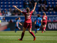 HARRISON, NJ - MARCH 08: Georgia Stanway #16 of England calls for the ball during a game between England and Japan at Red Bull Arena on March 08, 2020 in Harrison, New Jersey.
