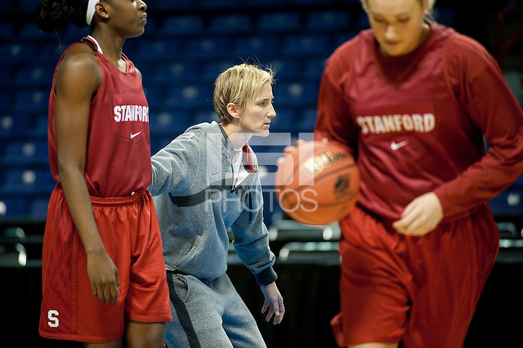 SPOKANE, WA - MARCH 27, 2011: Coach Kate Paye during the off-day pratice session, Stanford Women's Basketball, NCAA West Regionals on March 27, 2011.