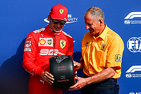 #16 Charles Leclerc, Scuderia Ferrari receives the prize for his pole position <br /> Italian GP, Monza 5-8 September 2019<br /> Monza 07/09/2019 GP Italia <br /> Formula 1 Championship 2019 <br /> Photo Federico Basile / Insidefoto
