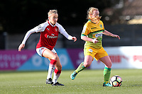 Leah Williamson of Arsenal and Harriet Lambe of Yeovil during Arsenal Women vs Yeovil Town Ladies, FA Women's Super League FA WSL1 Football at Meadow Park on 11th February 2018