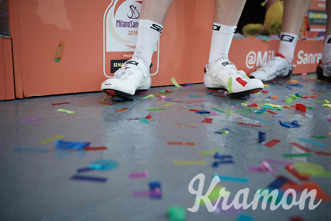 celebration shoes by the race winner<br /> <br /> 107th Milano-Sanremo 2016