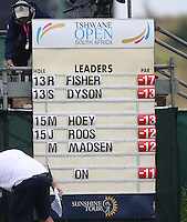 View of a leader board as the matches draw to close during Round Three of The Tshwane Open 2014 at the Els (Copperleaf) Golf Club, City of Tshwane, Pretoria, South Africa. Picture:  David Lloyd / www.golffile.ie
