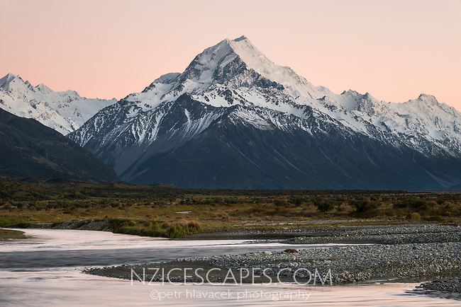 Dawn on Aoraki Mount Cook 3,724m with Tasman River, Aoraki Mt. Cook National Park, UNESCO World Heritage Area, Mackenzie Country, New Zealand, NZ