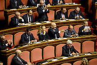 Roma, 2 Ottobre 2013<br /> Senato <br /> Sandro Bondi urla dagli scranni del PDL durante l'intervento del Primo  Ministro Enrico Letta