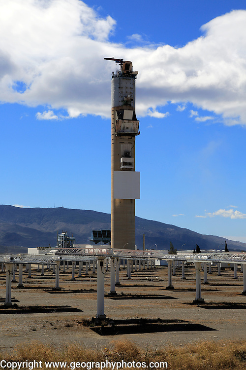 Heliostats and central receiver CESA-1 Tower at solar energy scientific research centre, Tabernas, Almeria, Spain