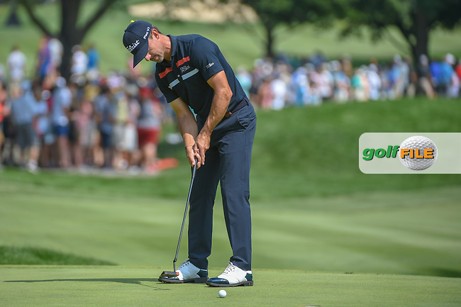 Wade Ormsby (AUS) sinks his putt on 1 during 4th round of the World Golf Championships - Bridgestone Invitational, at the Firestone Country Club, Akron, Ohio. 8/5/2018.<br /> Picture: Golffile | Ken Murray<br /> <br /> <br /> All photo usage must carry mandatory copyright credit (© Golffile | Ken Murray)