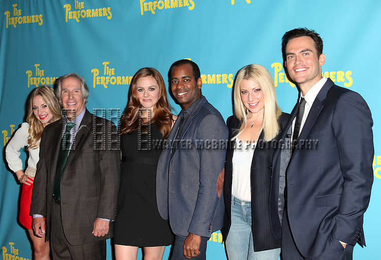 """The cast  of """"The Performers"""", from left, actress Jenni Barber, actor Henry Winkler, actress Alicia Silverstone, actor Daniel Breaker, actress Ari Graynor and actor Cheyenne Jackson  attends press event to introduce the cast and creators of the new Broadway play """"The Performers""""at the Hard Rock Cafe on Tuesday, Sept. 25, 2012 in New York."""